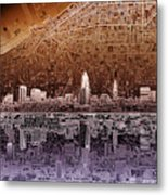 Cleveland Skyline Abstract 2 Metal Print