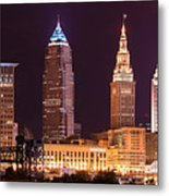 Cleveland Skyline Night Color - Downtown Buildings Metal Print