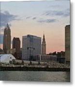 Cleveland Skyline And Port On The Cuyahoga River Metal Print