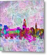 Cleveland Skyline Watercolor Metal Print