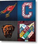 Cleveland Sports Fan Recycled Vintage Ohio License Plate Art Cavaliers Indians Browns And State Map Metal Print