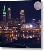Cleveland With Full Moon Metal Print
