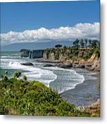 Cliffs Near Cape Foulwind Metal Print