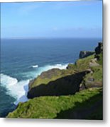 Cliff's Of Moher With White Water At The Base In Ireland Metal Print