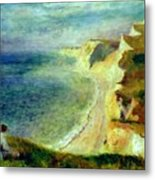 Cliffs On The Coast Near Pourville 1879 Metal Print
