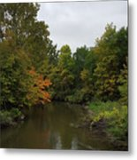 Clinton River In Autumn Cloudy Day Metal Print