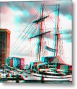 Clipper City - Use Red-cyan 3d Glasses Metal Print
