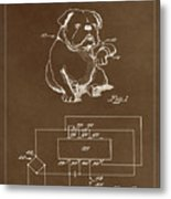 Clock For Keeping Animal Time Patent Drawing 1c Metal Print