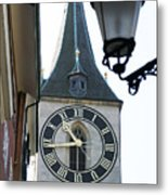 Clock Tower In Frankfurt In Germany Metal Print