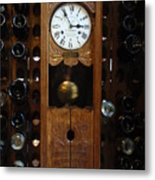 Clock Wine Rack Metal Print