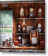 Clocksmith - In The Clock Repair Shop Metal Print by Mike Savad