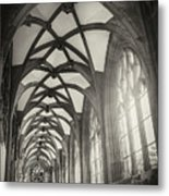 Cloisters Of Basel Munster Switzerland In Black And White  Metal Print