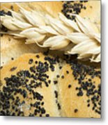Close Up Bread And Wheat Cereal Crops Metal Print