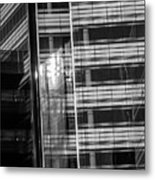 Close Up Of Black And White Glass Building Metal Print