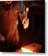 Close-up Of  Blacksmith Forging Hot Iron Metal Print
