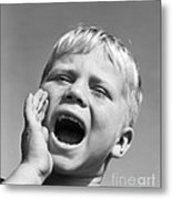 Close-up Of Boy Shouting, C.1950s Metal Print