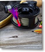 Close Up Of Fly Reel With Fly Jig Hanging From Spool  Metal Print