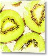 Close Up Of Kiwi Slices Metal Print