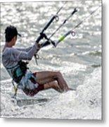 Close-up Of Male Kite Surfer In Cap Metal Print