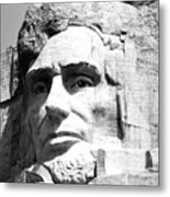 Close Up Of President Abraham Lincoln On Mount Rushmore South Dakota Black And White Metal Print