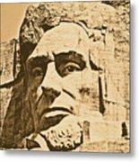 Close Up Of President Abraham Lincoln On Mount Rushmore South Dakota Rustic Digital Art Metal Print