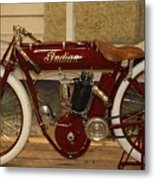 close up of red Indian motorcycle   # Metal Print