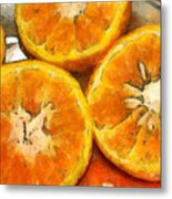 Close Up Of The Cut Section Of Some Oranges Metal Print