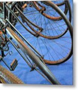 Close Up On Many Wheels From Bicycles  Metal Print