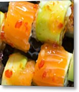 Close Up Sushi In Plate Metal Print