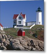 Close Up View Of A Lighthouse Cape Neddick Maine Metal Print