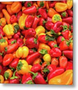 Close Up View Of Small Bell Peppers Of Various Colors Metal Print