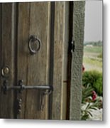 Close View Of A Wooden Door On A Villa Metal Print by Todd Gipstein