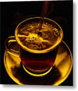 Close View Of Coffee Being Poured Metal Print
