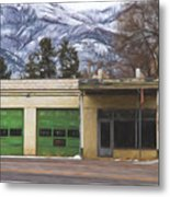 Closed Service Station Painterly Impressions Metal Print