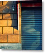 Closed Shop Door At Sunset Metal Print