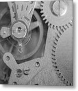 Closeup Macro Of Clock Mechanism Metal Print