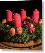 Closeup Of An Advent Wreath, Unlit Candles Metal Print
