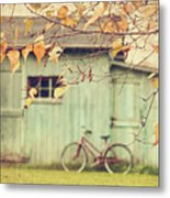 Closeup Of Leaves With Old Barn In Background Metal Print