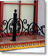 Closeup Of Window Decorated With Terracotta Tiles And Wrought Iron Photograph By Colleen Metal Print