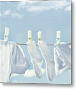 Clothes Hanging On Clothesline Metal Print by Sandra Cunningham