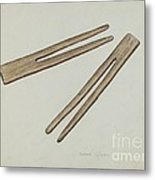 Clothes Pins Metal Print
