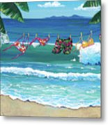 Clothesline At The Beach Metal Print