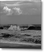 Cloud And Wave Black And White Seaside New Jersey  Metal Print