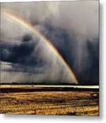 Cloud Burst And Rainbow Early Spring Storm Metal Print
