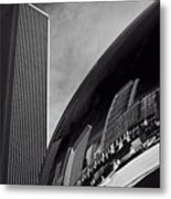 Cloud Gate And Aon Center Black And White Metal Print