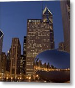Cloud Gate At Night Metal Print