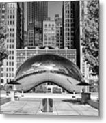 Cloud Gate Park Black And White Metal Print