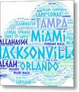 Cloud Illustrated With Cities Of Florida State Metal Print