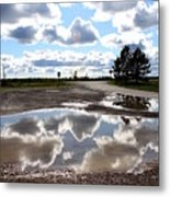Cloud Reflection In Puddle Metal Print