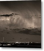 Cloud To Cloud Lightning Boulder County Colorado Bw Sepia Metal Print